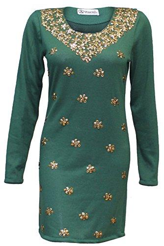 Attuendo Frauen-Kaschmir-Mischung mit Verzierung Tunika (Olive Green)