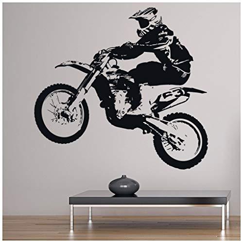 Dirt Bike Jump Wandaufkleber Motorradsport Wandtattoo Jungen Schlafzimmer Wohnkultur verfügbar in 5 Größen und 25 Farben X-Groß Gold Metallic (Dirt Bike Gold)