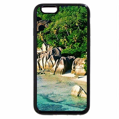 iPhone 3S/iPhone 6Coque (Noir) Anse (Rhône) Source dargent Beach, la Digue Island