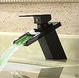 Ohcde Dheark Kupfer und dunkle Bronze Becken LED Wasserfall Waschbecken einzelne Loch Waschbecken Wasserhahn heißen und kalten Temperatur drei Farbe