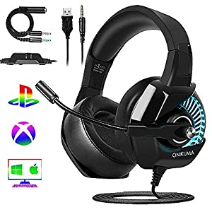 ESEYE Gaming Headset PS4, ONIKUMA Nintendo Switch PC Xbox One Mac Gaming Headsets with Mic Bass Surround Sound Noise Cancelling Microphone Over Ear Headphone, Soft Memory Earmuffs/LED RGB Lights