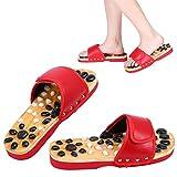 Zapatos de masaje Zapatos de masaje de piedras naturales Reflexología de los pies Accupressure para el cuidado de los pies en el hogar(41-rojo)