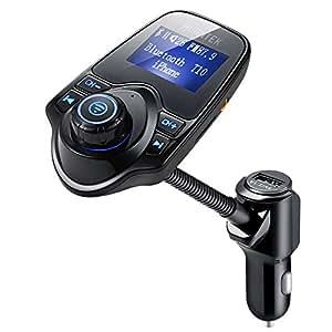 [Versione Aggiornata] AVANTEK Trasmettitore FM Bluetooth, Chiamate Hands-free per Auto, Lettore MP3, Supporta Musica nei Formati MP3 WMA su TF/ Micro SD Card