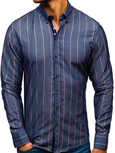 BOLF Hombre Camisa de Rayas de Manga Larga Cuello Americano Estilo Casual Slim Fit 8837 Azul Oscuro...