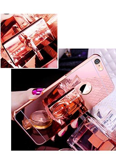 iPhone SE Hülle,iPhone 5S Hülle,SainCat Luxus Bling Glänzend Glitzer Spiegel Hülle [Weiche Metall Rahmen + Hart PC Rückdeckel] Mirror Effect Spiegel Schutzhülle [Glitzer Diamant Liebe Ring Fingerhalte Square-Roségold