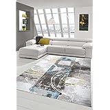 Alfombra diseñador Alfombra moderna alfombra de lana salón alfombra de lana alfombra con el modelo del círculo de la turquesa gris crema de mostaza Größe 80x150 cm