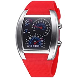 TVG Tonneau Dial LED Display Time & Date & Week & Colorful Light Timing Digital Movement Unisex Armbanduhr mit Rubber Band (Red)