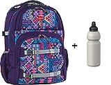 Take it Easy Schulrucksack OSLO-FLEX mit Trinkflasche - viele Farben und Dessins (AZTEC LILA (Lila))