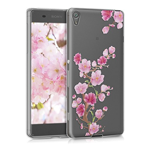 kwmobile Crystal Case Hülle für > Sony Xperia XA < aus TPU Silikon mit Kirschblüte Ast Design - Schutzhülle Cover klar in Pink Rosa Transparent