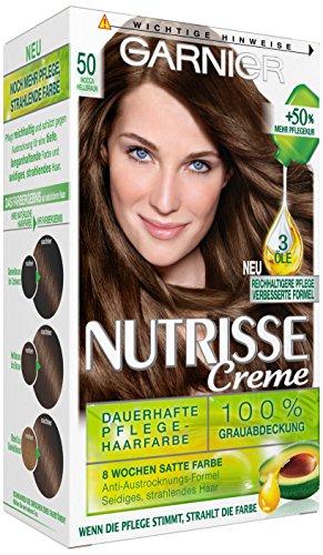 Garnier Nutrisse Creme Coloration Mocca Hellbraun 50, Färbung für Haare für permanente Haarfarbe (mit 3 nährenden Ölen), 3er (Helle Haar Farbe)