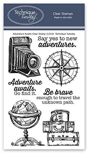 Adventure Awaits Transparente Stempel, Photopolymer-Stempel, klare Gummistempel, Stempel zum Basteln von Karten, Scrapbooking-Stempel (Scrapbook-papier Inspirierende)
