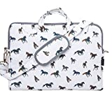 """TaylorHe Funda para portátil (15"""" / 40cm) bolso de bandolera para 15""""-15,6"""" portátiles Laptop con bolsillos laterales para accesorios, caballos, gris"""