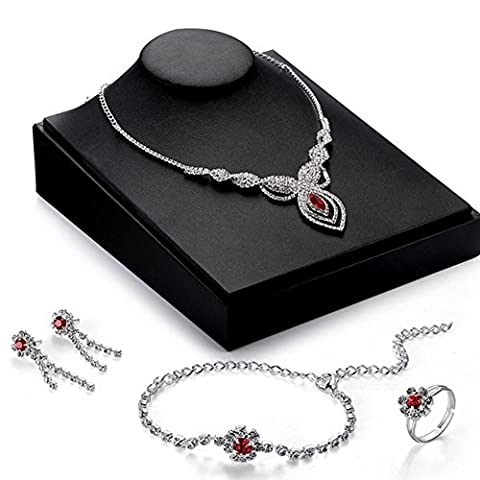 Female fashion crystal necklace earrings Four pieces set high-grade diamond