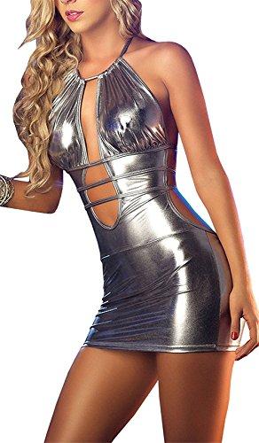 Preisvergleich Produktbild Befox Sexy Wetlook Minikleid Kleid Leder Lack Reizverschluss V-Ausschnitt Stretch Clubwear Fetisch Party Dress