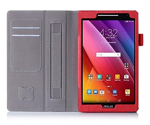 ISIN Housse pour Tablette Série Étui Premium PU avec Support pour ASUS Zenpad 8 de 8.0 pouces Z380C Z380KL Z380M Tablette Avec Sangle Velcro et Slot Cartes (Rouge)