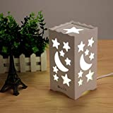OxyLED Table Lamp Night Light, Moon and Star Shaped Carving, Warm White Light, 5W, UK Plug