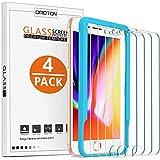 OMOTON [4 Piezas Protector Pantalla para iPhone 8/7/6/6S Cristal Templado iPhone 7/6S/6/8, Transparente, Sin Despegamiento, A