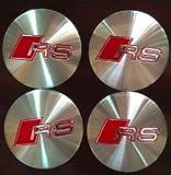 AUDI RS Wheel Centre Cap Sticker 3D Aluminium UK 56mm Silver/Red