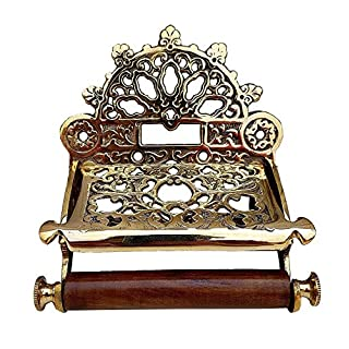 ARSUK® Toilet Paper Holder, Traditional Vintage Style Victorian Style Toilet Roll Holder Solid Brass (Brass)