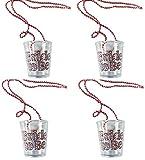 Party-Teufel 4 Stück Schnapsgläser zum Umhängen Aufschrift Bride to Be Pinke Perlenhalskette Trinkbecher Accessoires Junggesellenabschied Zubehör