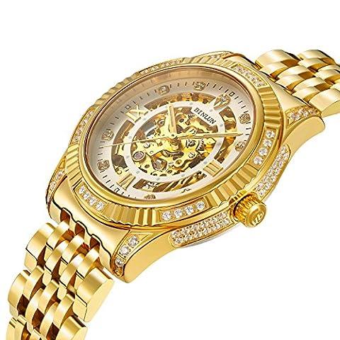 Binlun Plaqué or 18K automatique de poignet montres pour homme montre mécanique de luxe pour homme