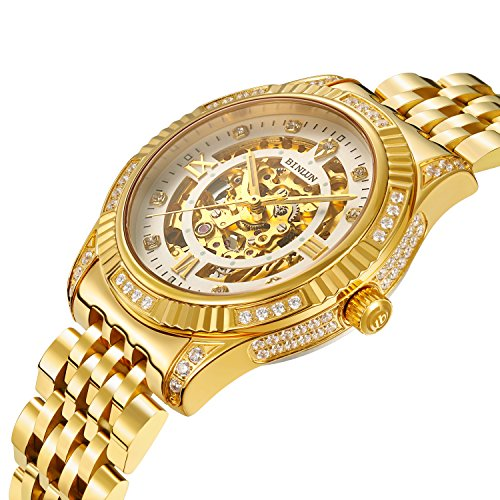 BINLUN 18K Gold Plated Automatic Wrist Watches for Men Mechanical Luxury Men's Dress Watch (Watch Plated Gold)
