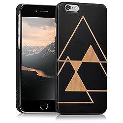kalibri Hülle für Apple iPhone 6 / 6S - Holz Case Handy Schutzhülle Bambusholz aus Kunststoff - Hardcase Cover Triangle Design Schwarz Hellbraun