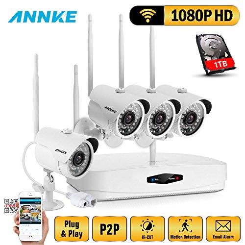 ANNKE-1080P-WIFI-NVR-4CH-Kit-de-4-Cmaras-de-Vigilancia-HD-CCTV-P2P-IP66-Onvif-H264-Sistema-de-Seguridad-Plug-and-Play-Visin-Nocturna-Exterior-Acceso-Remoto-Alarma-Inteligente-1TB-Disco-Duro