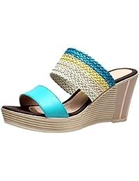 Anguang Damen Böhmen Kontrastfarbe Gewebt Sandalen Keilplattform Pantoffeln  Hausschuhe d68d21a868