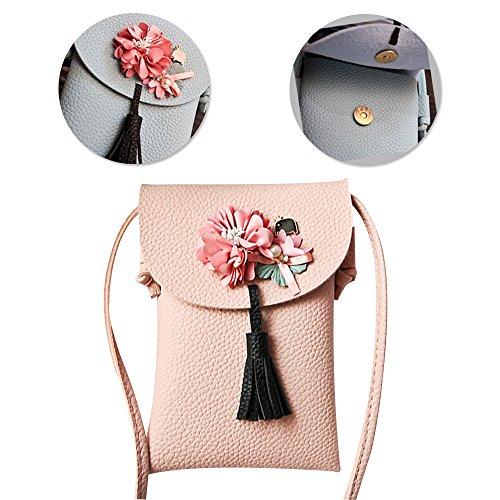 Handy Umhängetasche Schultertasche Cross Body Bag, Vandot Blumen Universal Handytasche Geldbörse Kleine Tasche für Frauen Mädchen Kinder iPhone 5 6 6S 7 8 Plus, Galaxy Note 5 4 S7 Edge - Niedlich Handy