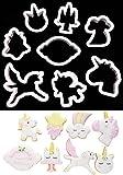 Einhorn Keks-Ausstecher 8/Set, Qualität Ausstechformen–Nistkasten Kunststoff Ring COOKIE Schneid-Set Formen für Mousse, Teig, Schokolade, Fondant, Donut und Muffins