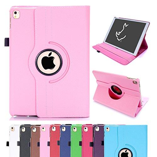 RC RC®-iPadA2-BP iPad Air 2Hülle, iPad Air 2/iPad 6 360Drehbare Intelligente Hülle PU-Leder Hülle mit Standfunktion für Apple iPad Air 2Schlafen/Wachsein, Babyrosa