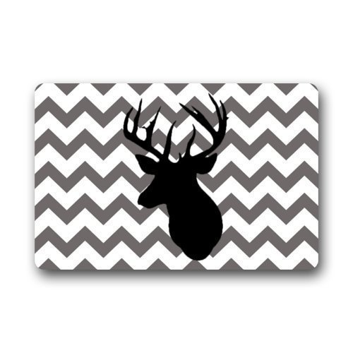 vcbndfcjnd Fantastic Doormat Grey and Chevron Pattern with Deer Print Door Mat Rug Indoor/Outdoor/Front Door/Bathroom Mats£¬Bedroom Doormat 23.6