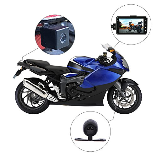 Rider Biker da donna, per sport Action Camera, telecamera con DVR con Specialized dual-track con fotocamera anteriore e posteriore fotocamera, monitor LCD da 7,6cm con Picture in picture