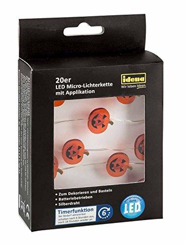 Idena 31832 LED-Lichterkette, mit 20 kleinen Halloween Kürbis Smiley, Eisen, Bunt, 125 x 1 x 1 cm