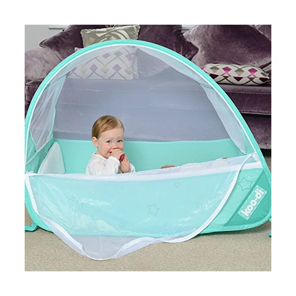 Koo-di Pop Up Travel Bubble Cot Cockatoo with Mattress and Mosquito Net - suitable from 6 to 18mths  A comfortable cot ideal for use at home while baby rests during the day, out and about, on holidays or weekends away Most suitable for use from 6 months to approximately 18 months and when outgrown, makes an ideal playhouse for little ones. Weighs less than 2.2kgs. Quick and easy to use. Measures L100 x W60 x H69cm when assembled 2