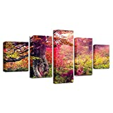 LOVELYJ Leinwanddrucke Hd Druck Bilder Auf Leinwand Moderne 5 Stücke Grünes Gras Rot Baum Natürliche Landschaftsbilder Poster Home Wandkunst Dekor-Ohne Rahmen