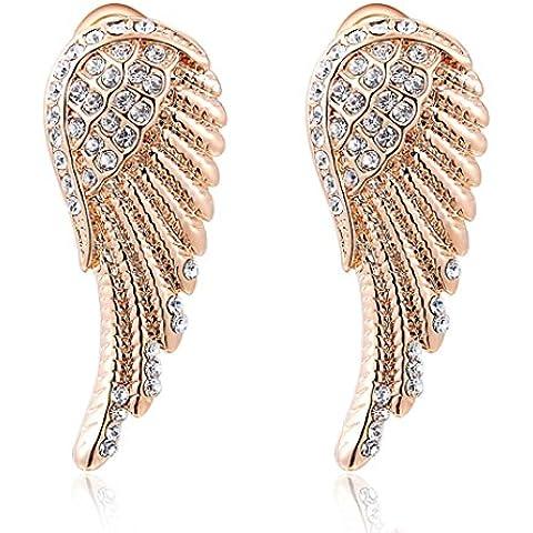 Duo la Charm alas de ángel 18K chapado en oro rosa circonita mujer elegante Stud pendientes
