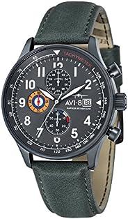 AVI 8 Men's Analogue Japanese Quartz Movement Watch with Leather Strap AV-401