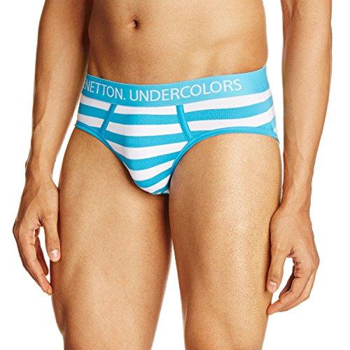 United Colors of Benetton Men's Cotton Brief (007DI White/Aqua L)-903