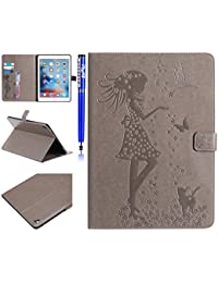 EUWLY Case for iPad Pro 9.7,iPad Pro 9.7 PU Leather Flip Wallet Case [Girl Flower Cat Bird Pattern][Shoockproof] PU Leather Bookstyle Wallet Case Magnetic Closure with Stand Function PU Leather Wallet Flip Cover Sleeve Card Slot and Banknotes Pocket for iPad Pro 9.7 + 1 x Stylus Pen,Gray