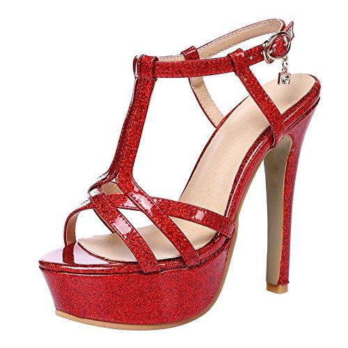 MissSaSa Donna Sandali col Tacco alto Chisura a T Rosso