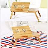 #9: JHMART portable foldable wooden laptop lapdesk notebook e-table with two cooling fan for macbook, wooden stand, laptop holder, base laptop, notebook holder, bed table, wood table for laptop