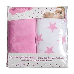 Coprifasciatoio spugna universale 2x - fodera materassino fasciatoio per neonato copri fasciatoio coprimaterassino coprimaterasso copricuscino rivestimento coprispugna bimba cover cotone stelle rosa