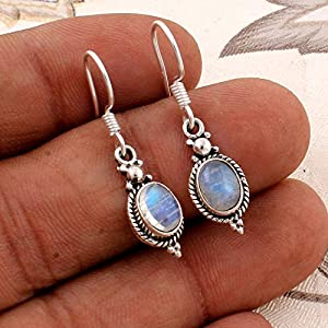 Baumeln Sie Ohrringe, Ohrringe, Sterling Silber Ohrringe für Sommergeschenk, ovale Regenbogen Mondstein Ohrringe, Silver Earrings for Womens Gift