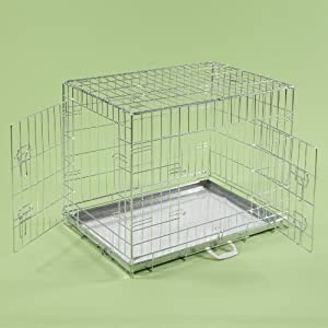 "36"" Dog Cages Puppy Crate Large Silver Cat Folding Metal Cage 36"" x 24"" x 26"""