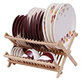 #5: Kurtzy 2-Compartments Foldable Bamboo Dish Rack- Perfect Plate Drainer Wooden Utensils & Dishes Drying Holder for Kitchen