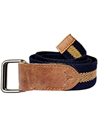 Hidekraft Unisex Canvas Leather Belt (Navy Tan, Free Size)