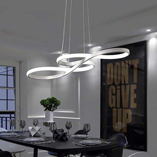 ZMH LED Pendelleuchte esstisch Hängeleuchte Deckenleuchte 38W Dimmbar mit den Fernbedienung Hängelampe Arbeitszimmer, Wohnzimmer; Küche, Musikalische Symbole-Design Pendellampe Kronleuchte(weiss)