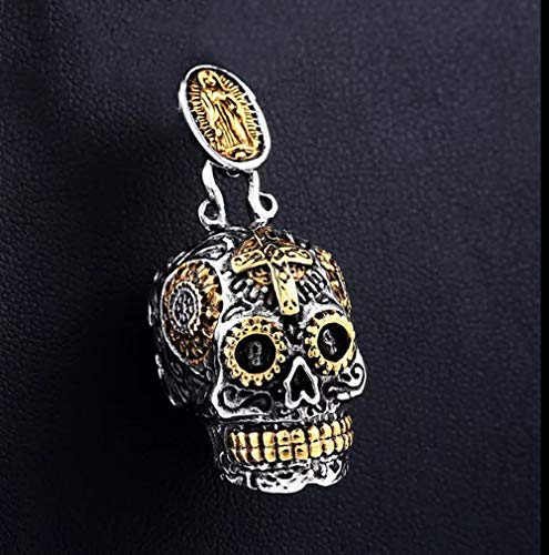 Edelstahl Sugar Virgin Mary Skull Cross Mexican Gothic Biker Rocker Pendant Necklace Charme Männer Mode Schmuck